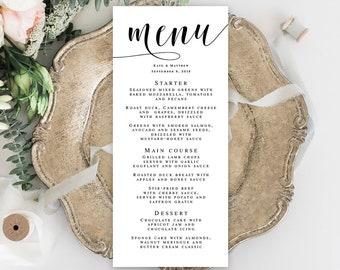 Wedding menu template Wedding template Editable menu Wedding table decor Boho wedding DIY Rustic wedding menu Printable menu cards #vm31