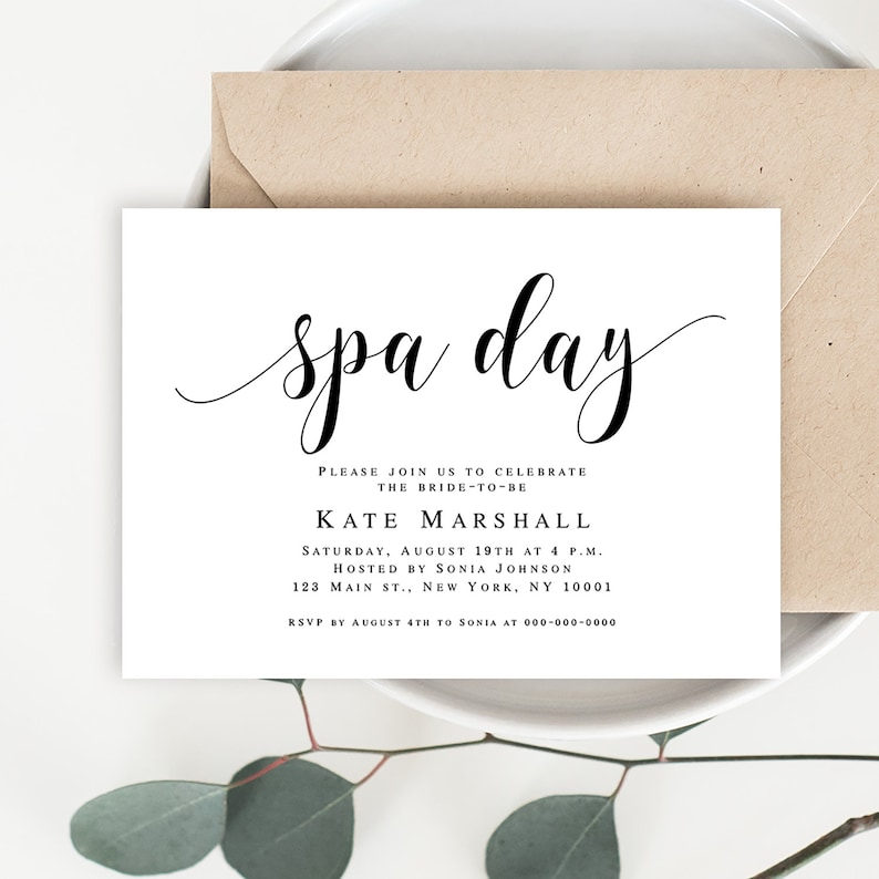 Spa Day Invitation Template Bride Party Instant Download Bridal Shower Invites