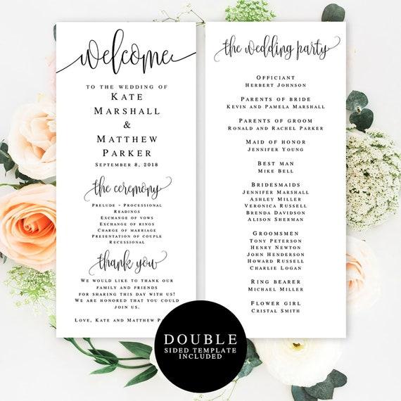 Wedding Program Template Download Elegant Programs