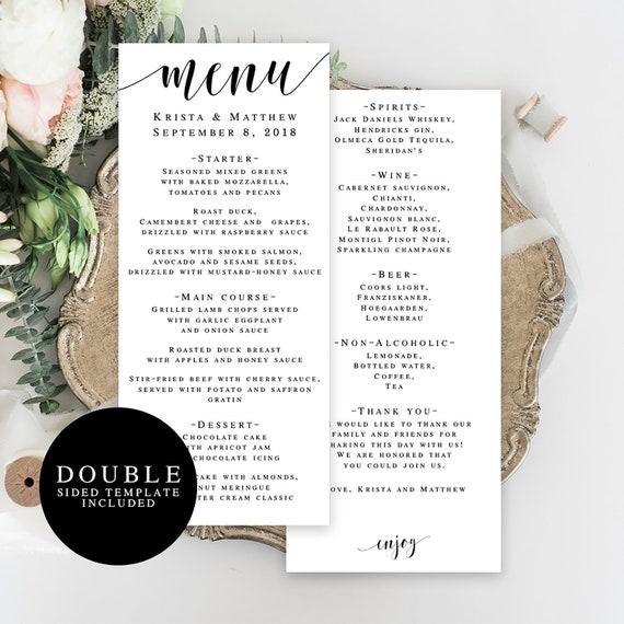 Wedding Menu Template Double Sided Editable Menu Card Wedding Table Decor Rustic Wedding Menu Country Chic Wedding Printable Menu Card Vm31