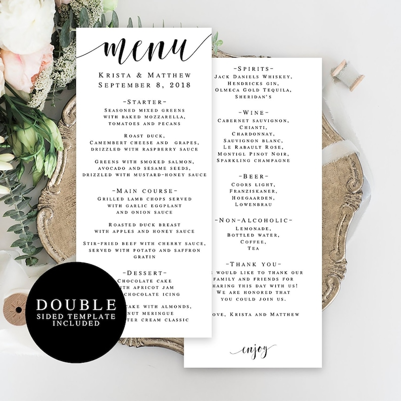 Wedding Menu Template.Wedding Menu Template Double Sided Editable Menu Card Wedding Table Decor Rustic Wedding Menu Country Chic Wedding Printable Menu Card Vm31