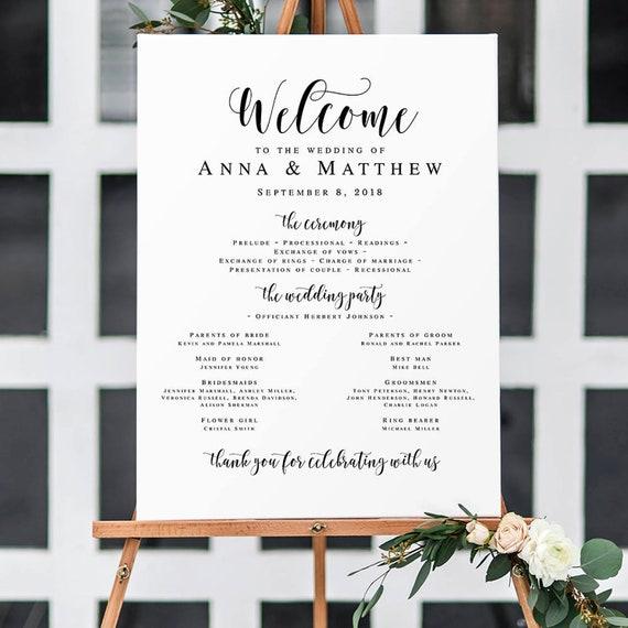 Large Wedding Program Sign Wedding Templates Welcome Wedding Etsy