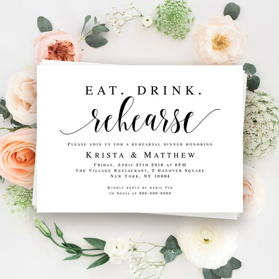 Eat Drink Rehearse Rehearsal dinner invitation template Rustic | Etsy