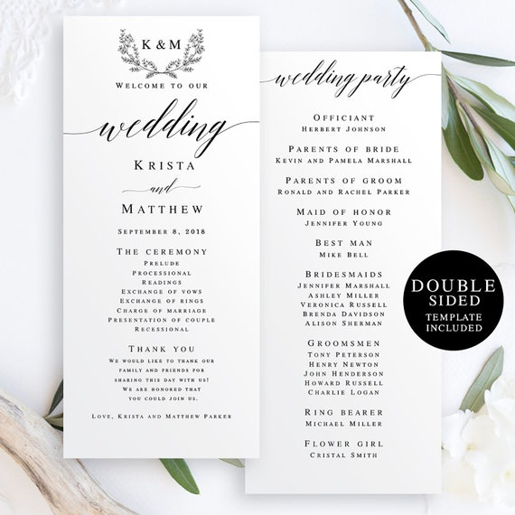 Wedding programs instant download Editable template Boho wedding program DIY wedding programs Elegant wedding programs Travel wedding #vm51