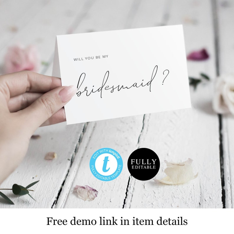 Bridal Proposal Template Tent Asking Card Maid of Honor Printable Will You Be My Bridesmaid Card Instant Download 100/% Editable #vmt13
