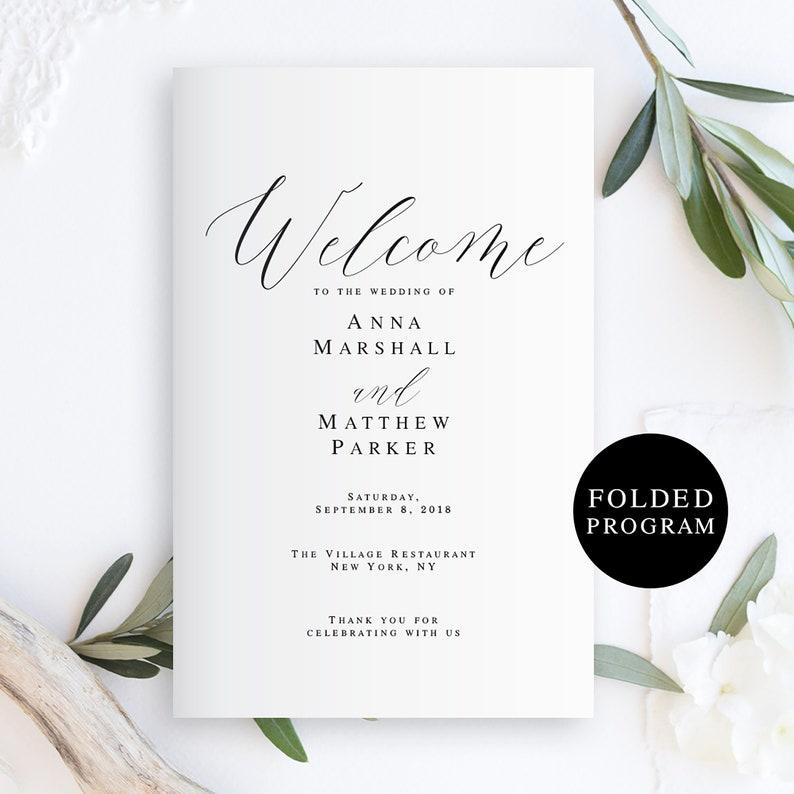 Folded wedding program template Folded wedding programs image 0