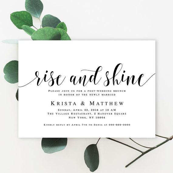 Post Wedding Brunch Invitation Wedding Template Editable