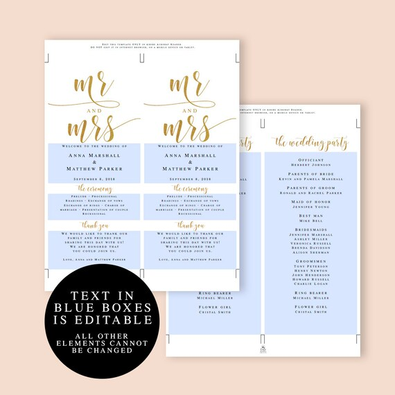 Gold Wedding Program Template Gold Program Gold Wedding Etsy