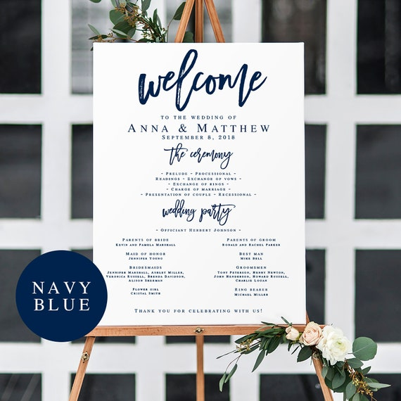 Navy Wedding Program Template Large Sign