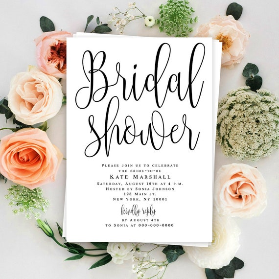 Bridal Shower Template Bridal Shower Invitation Instant Etsy