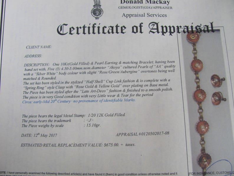 Art Deco 12kt Rose Yellow GF AA Fine Quality Cultured Akoya Pearls Half Shell Style Bracelet and Screw Back Earrings Certified Appraisal 675