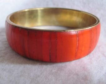 Vintage Salmon Coral Inlaid Brass Bangle