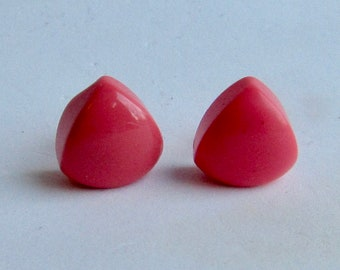 Vintage Bakelite NOS BODACIOUS Pink Smaller Pierced Triangle Earrings