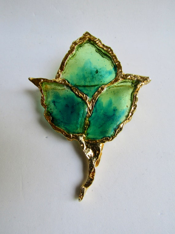 Vintage Signed Joy Resin Plique a Jour Stained Glass Butterfly GP Brooch