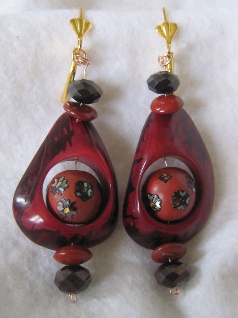 Clay Inlaid Bead Jasper Dangling Pierced GP* Lever Back Pierced Earrings Hematite LC Collection Vintage Tagua Nut