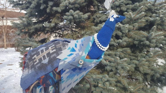 The Ice Queen Peacock Fabric Sculpture