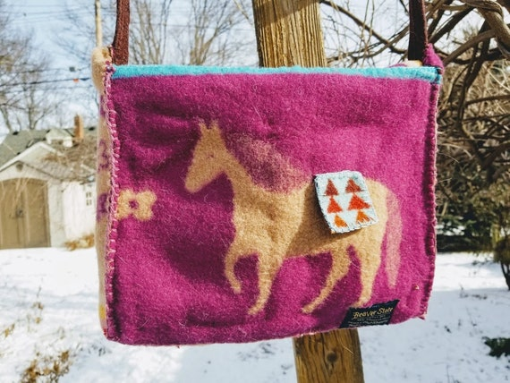 Dark Pink and Tan Wool Pony Cross-body or Shoulder Handbag