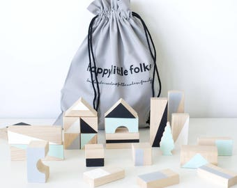 24 Wooden blocks in Mint & Monochrome colours packed in cotton bag - Building blocks - Wooden toy - Toddler toys - Baby  gift - Toddler gift