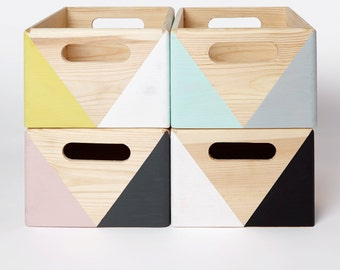 Geometric wooden box with handles - Storage Box - Toy box - Office storage - Kitchen storage - Storage idea - Organizer - Wooden crate