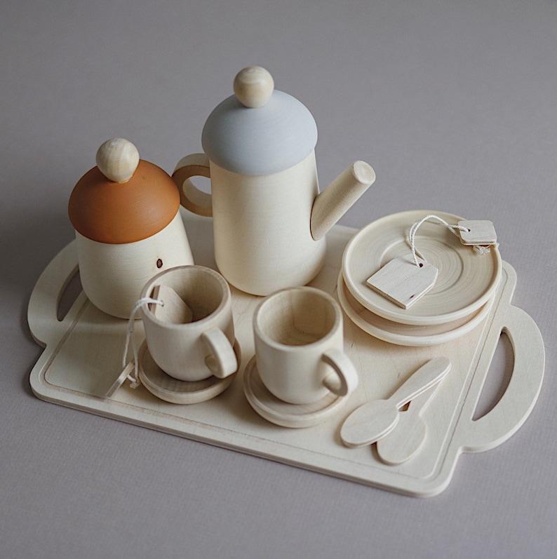 Wooden Tea Set toy Custom colour choice  Pretend tea party image 0