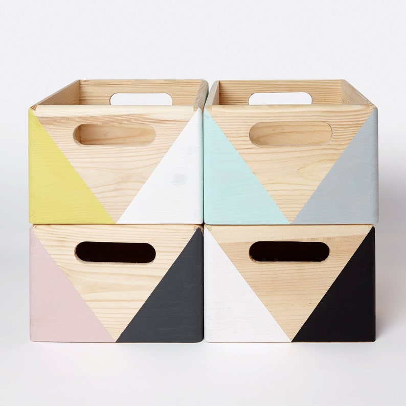 Geometric wooden box with handles  Wooden storage  Toy box  image 0