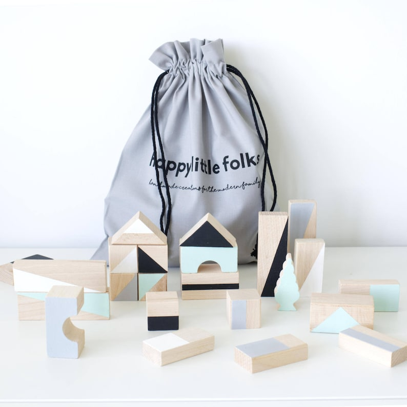 Wooden blocks in Mint & Monochrome colours packed in cotton image 0