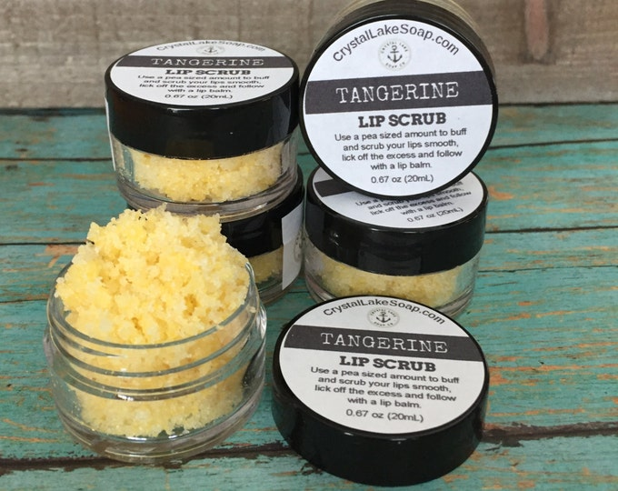 Tangerine Lip Scrub Organic Fresh Polish with Sugar Lip Care Exfoliation Vegan