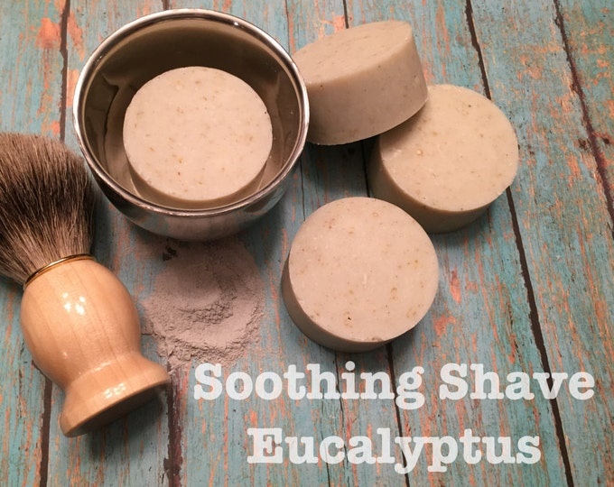 Eucalyptus & Tea Tree Oil Shaving Puck with Oatmeal. Men's Natural Organic Soothing Beard and Mustache Soap