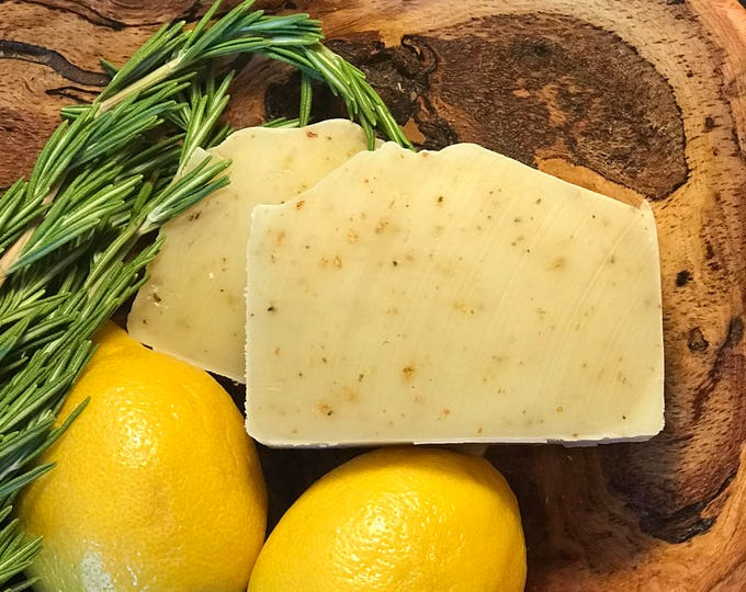 Rosemary Lemon Energizing Bar Organic Vegan Soap Natural Facial and Body Bar. Great in Kitchen too!