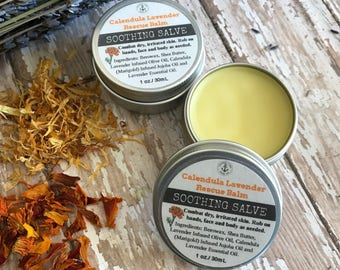 Lavender Calendula Rescue Balm SOOTHING SALVE with Organic Beeswax, Marigold, Olive Oil, Jojoba Oil, Shea Butter and Essential Oils.