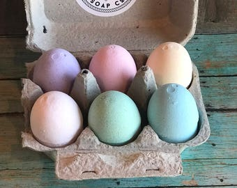 Easter Egg Bath Bomb Set of 6 Fizzies - Organic, Natural and Vegan Friendly