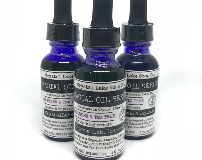 FACIAL OIL SERUM - Lavender & Tea Tree Organic - Soothing Moisturizer for All Skin Type! Jojoba, Argan and Rosehip Oils