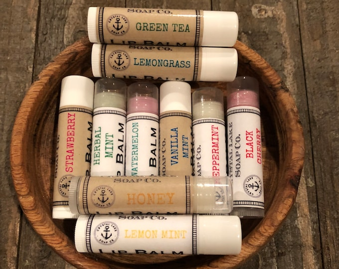 Lip Balm Tube - Natural, Many Flavors - Moisturize, Mix & Match. Coconut or Soy Based.