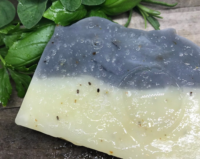 Gardener's Scrub Soap, Get hands clean! Organic and Natural with Activated Charcoal, Bentonite Clay, Chia Seeds, Orange, Clove & Patchouli