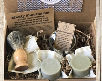 Manly Men's Shaving Gift Set - Badger Brush, Dish, Eucalyptus and Citrus Shaving Puck Soap , Old fashioned shave soap. Husband Boyfriend
