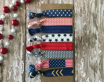 8 Trendy Soft Elastic Hair Ties No Crease Ponytail - 4th of July Americana Set  Red, White & Blue / Stars Stripes / Veterans