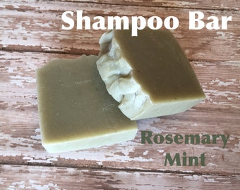 Rosemary Mint Shampoo Bar Bentonite Clay Lush Homemade Soap Thin Textured Thick Hair Almond Oil Cocoa and Shea Butter