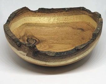 Rustic Handturned Wooden Bowl - O1805 Reclaimed Oak with Natural Edge from Knox Road Bowls