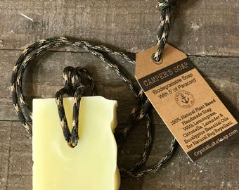 Camping Soap Bar on Paracord with Lemongrass, Lavender & Citronella for Natural Bug Repellant Biodegradable Safe Campers Soap