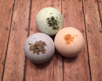 Bath Bomb Set of 3 Fizzies: Lush Lavender, Citrus Burst & Rejuvenating Mint 10ozs Shea Butter, Oils, Organic, Natural and Vegan Soap