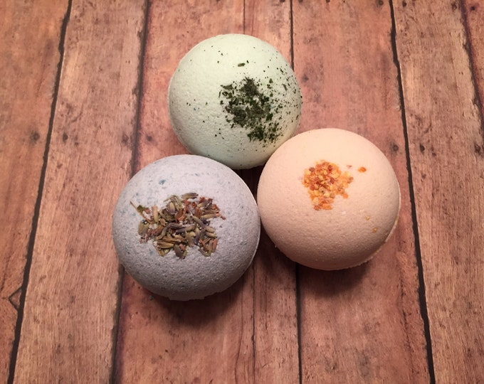 Bath Bomb Set of 3 Fizzies: Lush Lavender, Citrus Burst & Rejuvenating Mint 10ozs Shea Butter, Oils, Organic, Natural and Vegan Soap