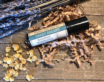 SWEET DREAMS Rollerball Aromatherapy Essential Oil Blend Organic / Lavender Chamomile Clary Sage Balsam Sandalwood Marjoram Ylang Ylang