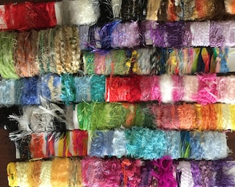 30+ Yards Trendy, Fun Yarn / Fibers. Over 90 feet Scrapbook Lot, Crazy Quilt, Card Making, Altered Art,