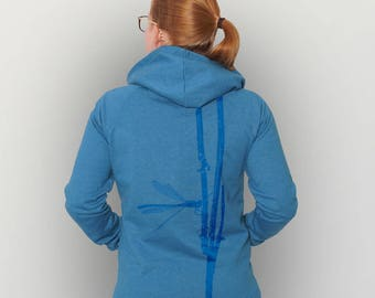 """Recycled Zip Hoody unisex """"Early Adonis Dragonfly"""""""