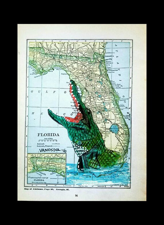 Vintage Florida Map Alligator Wildlife Coastal Gator Art Print Etsy