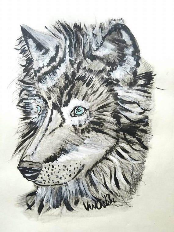 Original Blue Eyed Alpha Male The Wolf Graphite Pencil Sketch Drawing Mixed Media Abstract Painting Art Scott D Van Osdol Ready To Frame