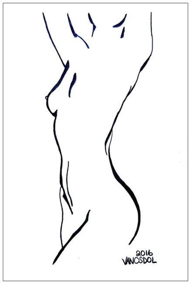 Female nude young thinking woman stretching yoga abstract 5 5x8 5 jumbo postcard minimal art print pencil sketch drawing scott d van osdol