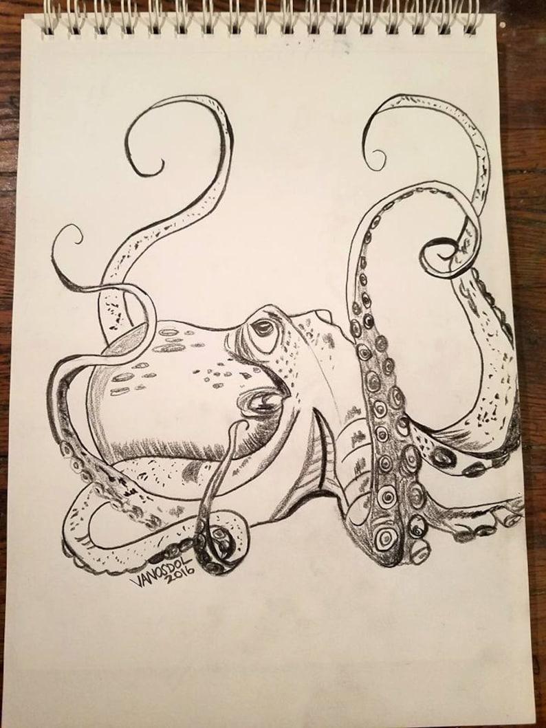 Detailed OCTOPUS Ocean Sea Life Creature Coastal Nautical Colored Pencil  Sketched Art By Scott D Van Osdol 9x12
