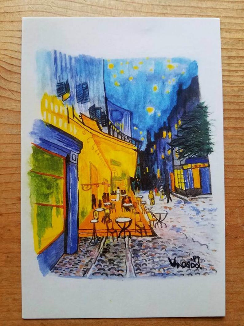 Cafe Terrace At Night Vincent Van Gogh 4x6 Postcard Watercolor Art Print Reproduction Painting By Scott D Van Osdol Famous Artwork France