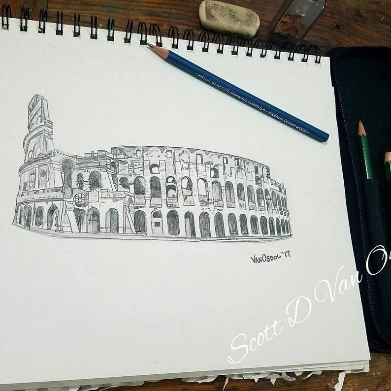 Coliseo Romano Original Altamente Detallado Realismo Grafito Etsy